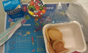 Pancakes, fruit cup, milk (syrup not pictured)